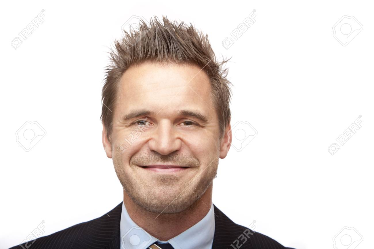 Closeup of businessman looking positive. Isolated on white background Stock Photo - 5676187