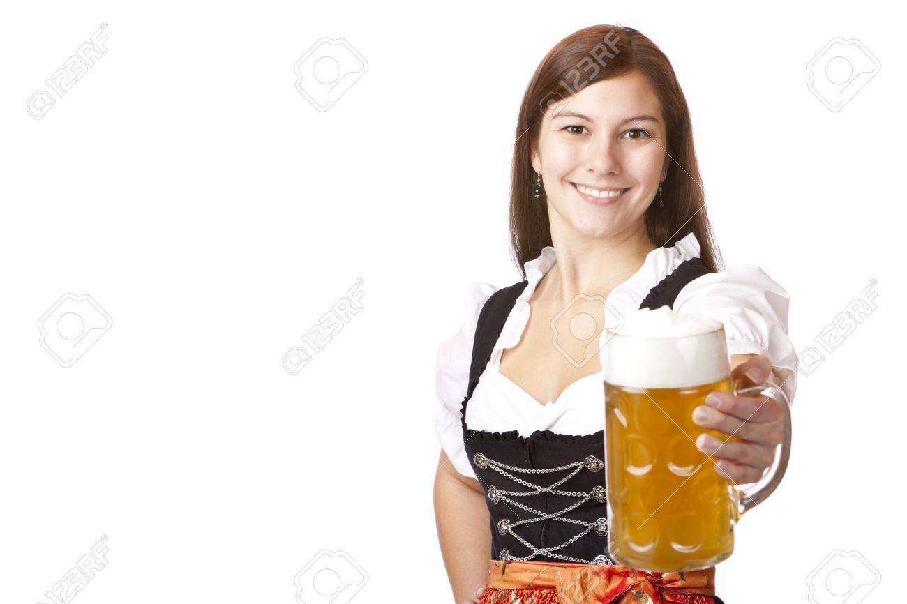 /Happy Bavarian woman holding Oktoberfest beer stein (Mass) in camera. Isolated on white background. Stock Photo - 7408978
