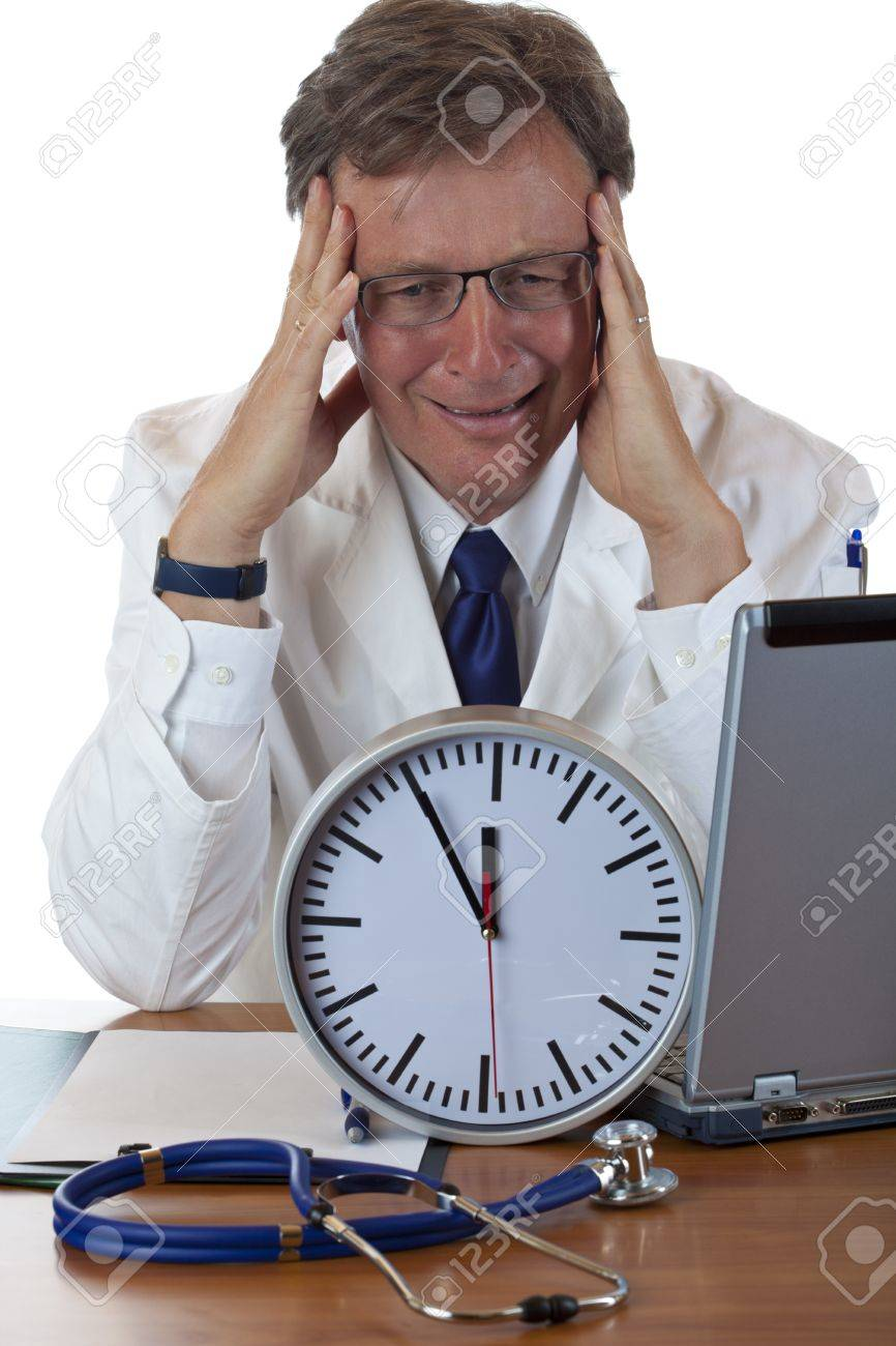 Stressed medical with clock in front holds his head because of time pressure. Isolated on white background. Stock Photo - 9752223
