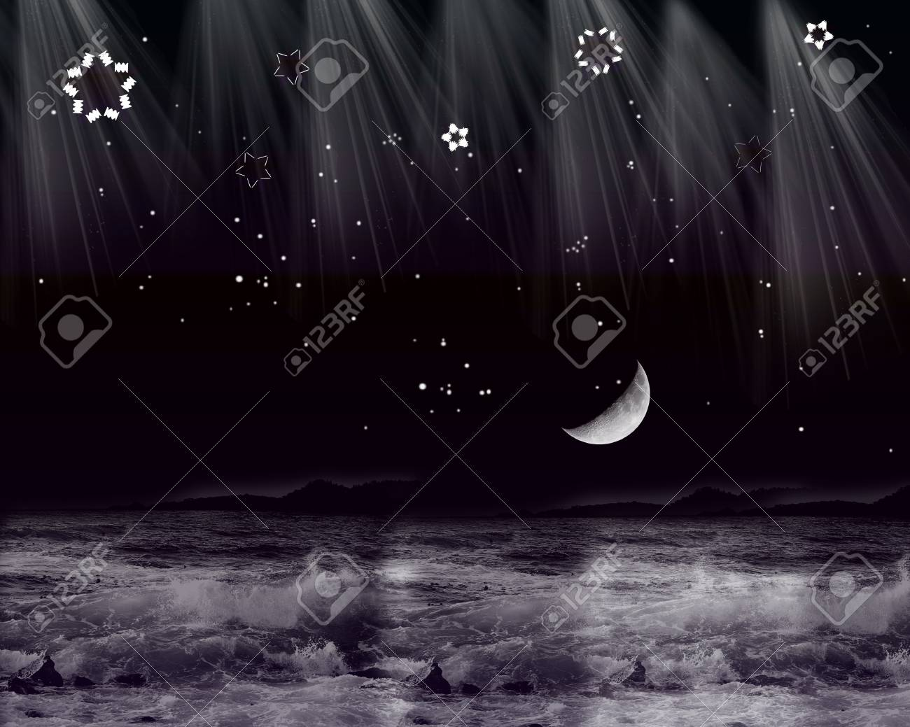 Magical night in the sea Stock Vector - 18370622