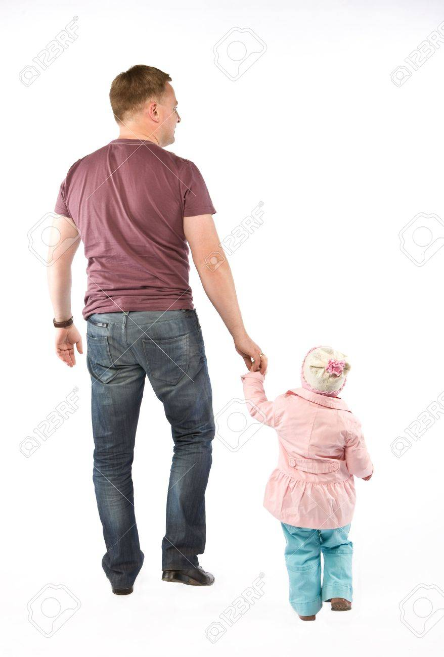 Walking father with daughter. Isolated on white Stock Photo - 4834431