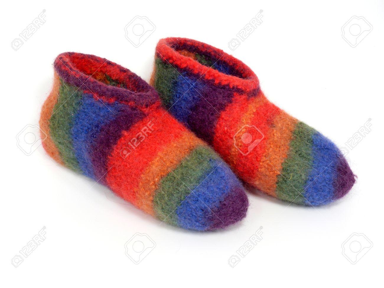 Knitting Grandma Slippers : Grandmas handmade felt slippers stock photo picture and royalty