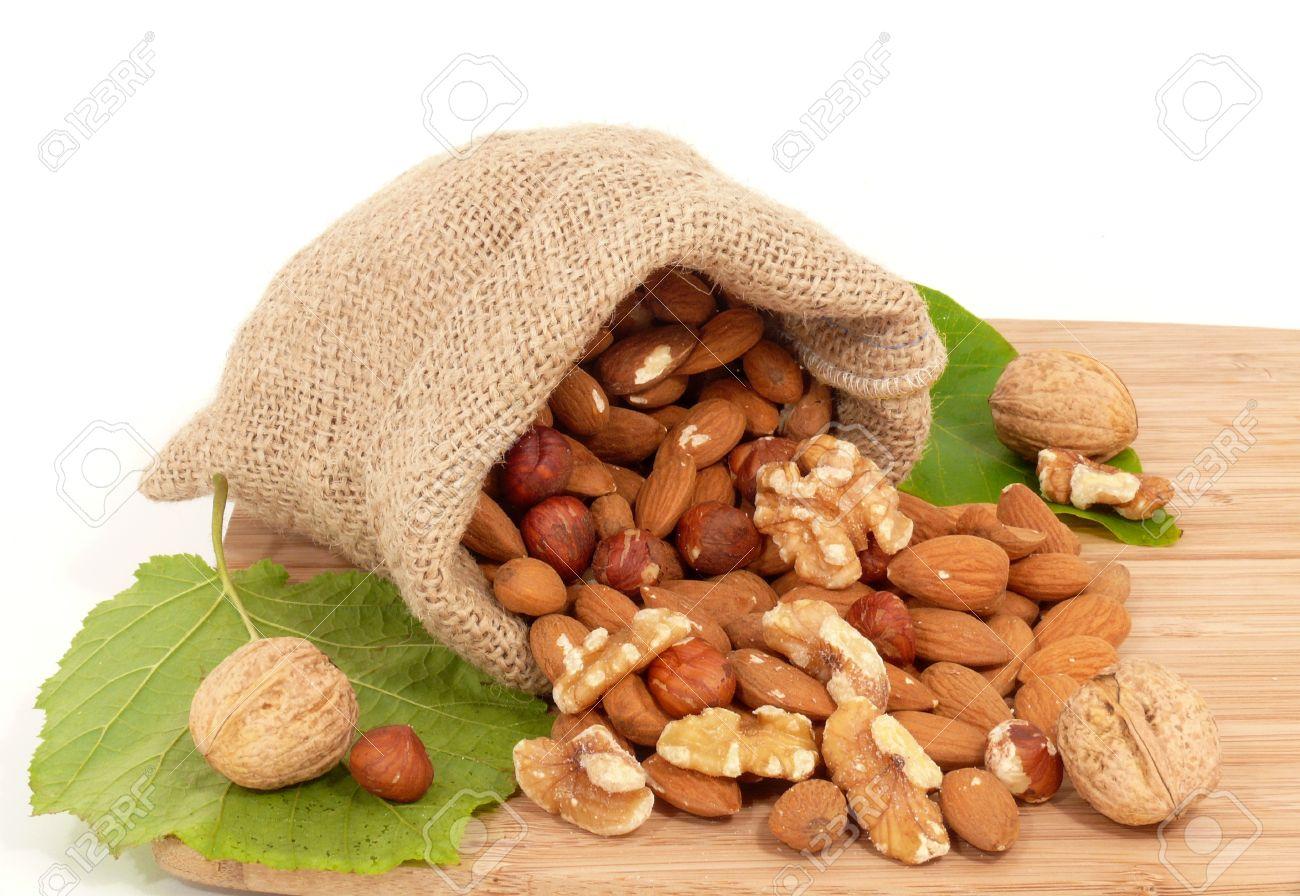 almond, walnut and jute bag Stock Photo - 10819742