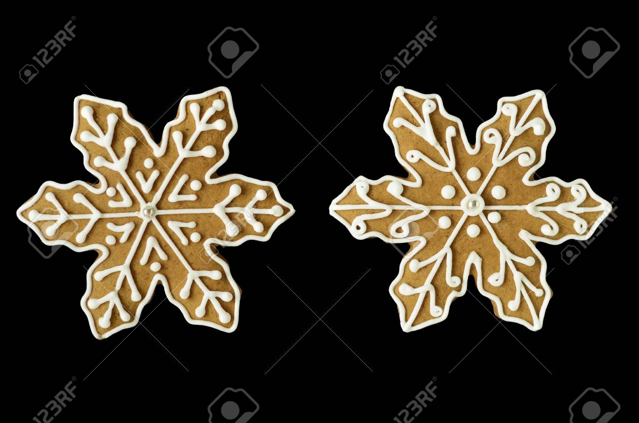 Gingerbread Snowflake Cookies Isolated On Black