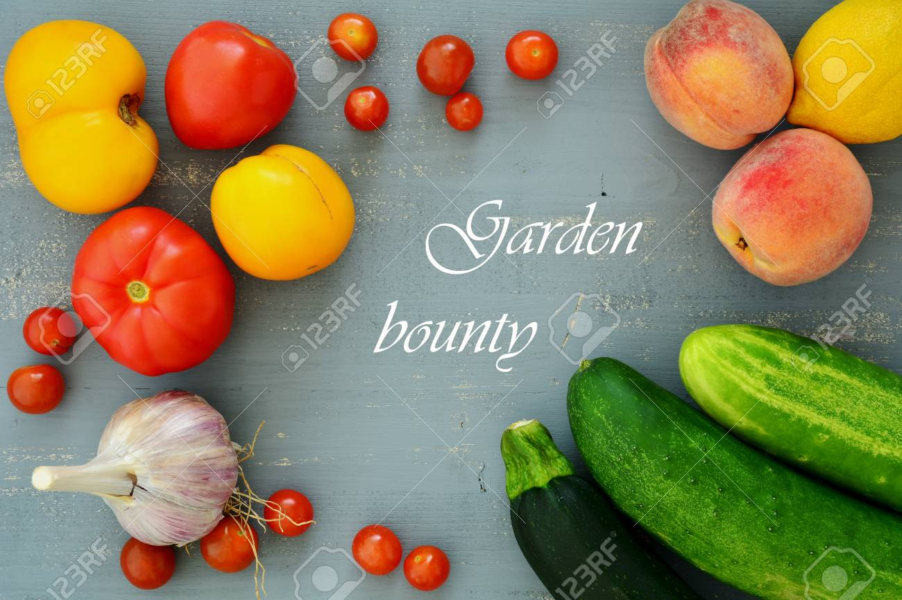 Fresh Fruit And Vegetables From Home Garden In Flat Lay With