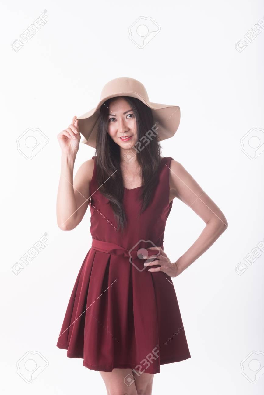 Età Archivio Fotografico Abito In Donna Asian Di Rosso Mezza F1K3TJcl