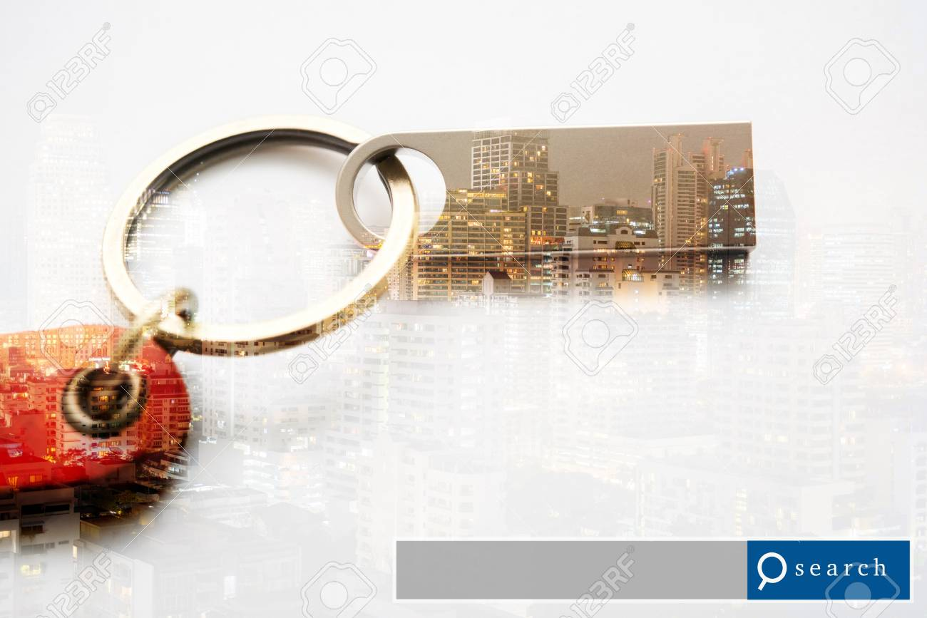 USB Flash Drive double exposure with city light with search engine