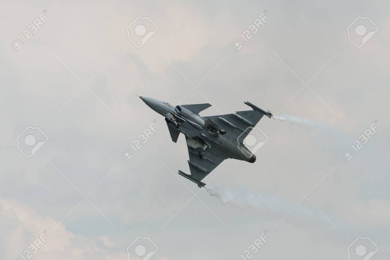 Fairford, UK - 12 July 2014: A Saab JAS 39 Gripen aircraft in