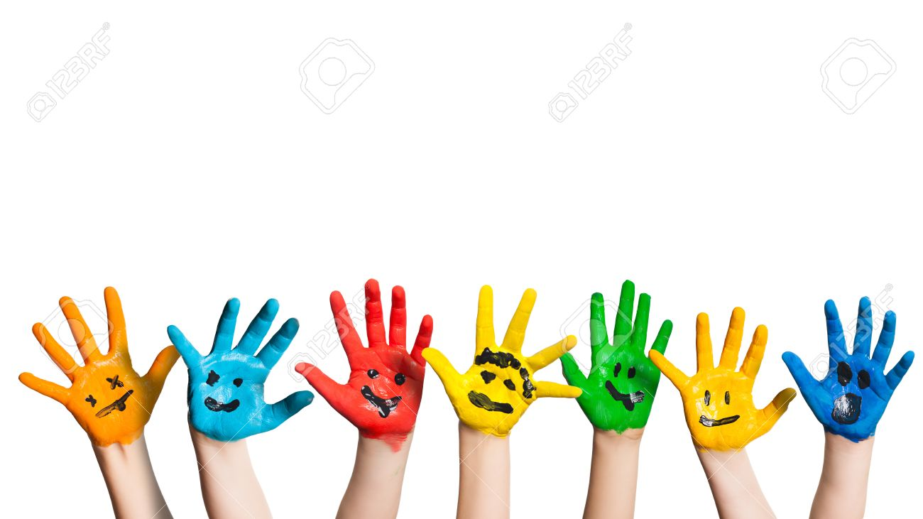 painted hands of children with smileys stock photo picture and