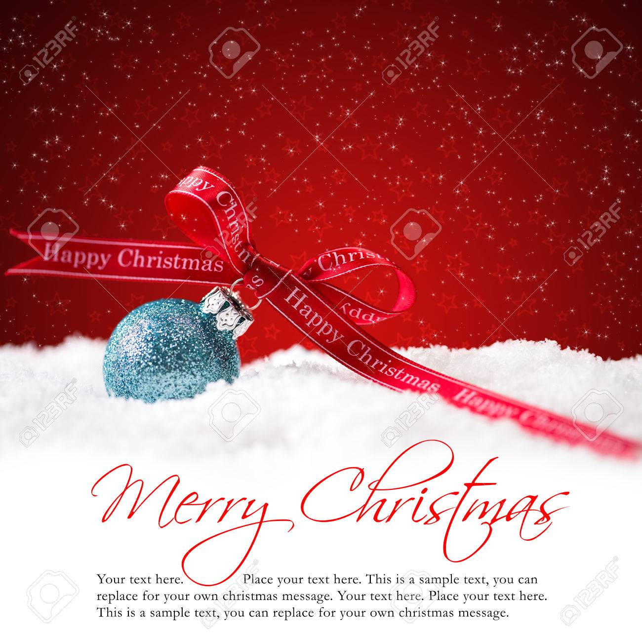 Christmas ball in the snow with merry christmas greeting and stock christmas ball in the snow with merry christmas greeting and sample text stock photo 43624865 m4hsunfo
