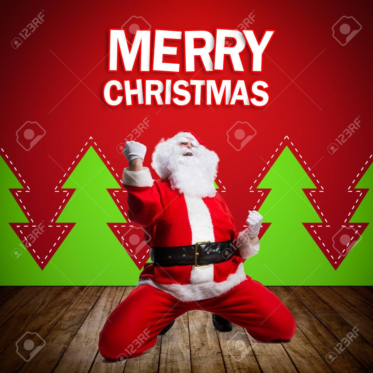 Glücklicher Weihnachtsmann Mit Merry Christmas Nachricht Lizenzfreie ...