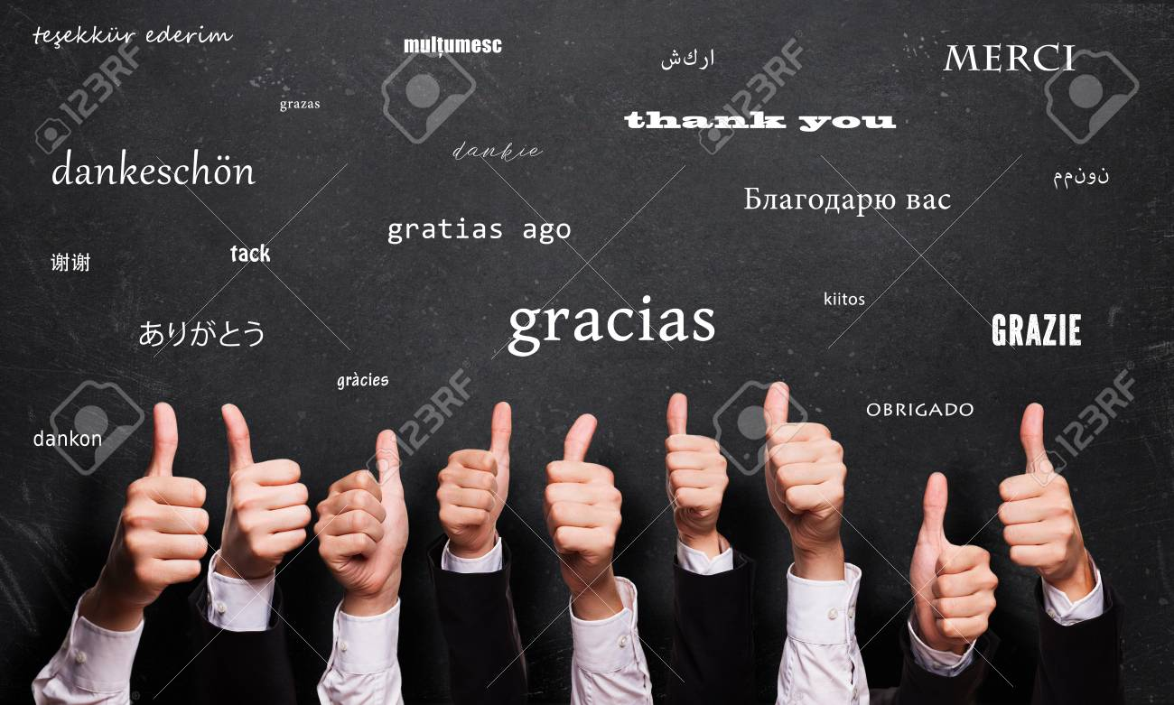 many thumbs up in front of a blackboard with the word - 103236404