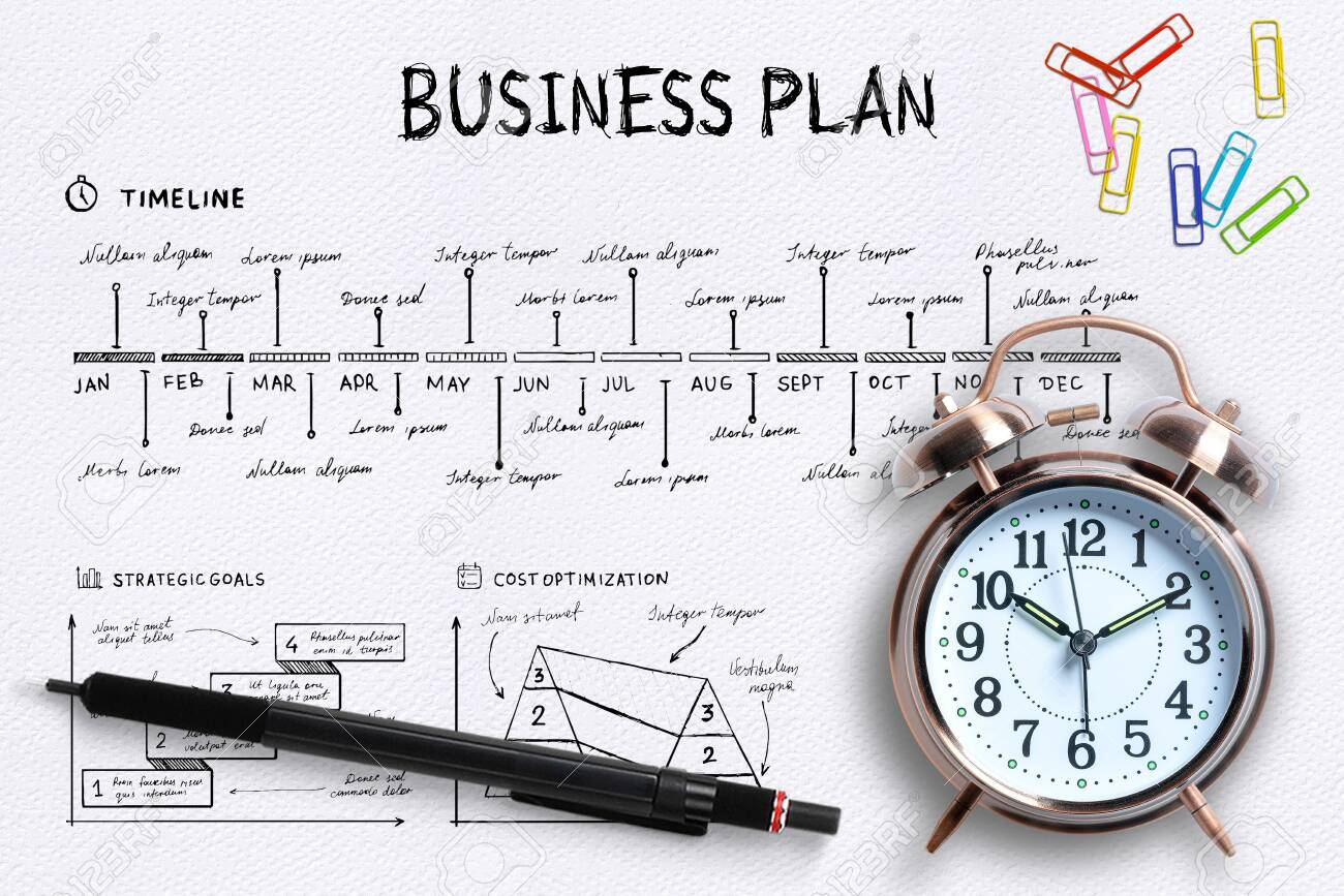 Close-up view from above of a professional desk with an alarm clock, colored paper clips and a pen on a complex written business plan with copy space - 126964537