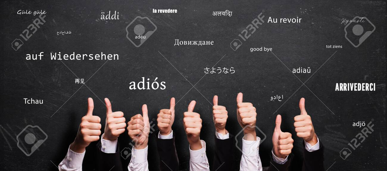 many thumbs up and blackboard with message GOODBYE in different languages - 151955715