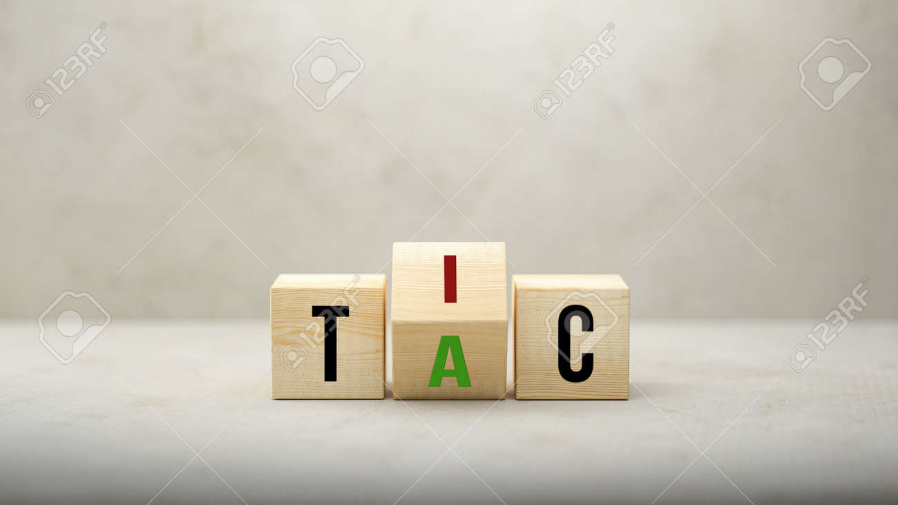 Tic - Tac concept with revolving letters A and I on wooden blocks over a grey background viewed low angle with copyspace - 3d illustration - 166486438