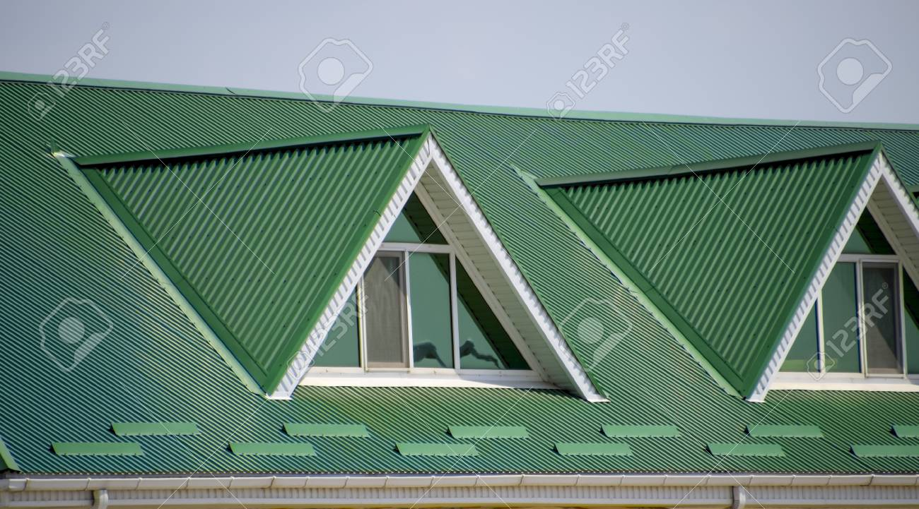 The House With Plastic Windows And A Green Roof Of Corrugated Stock Photo Picture And Royalty Free Image Image 84546720
