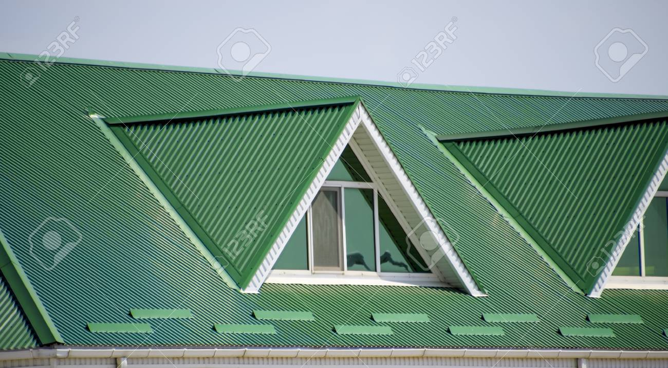 The house with plastic windows and a green roof of corrugated the house with plastic windows and a green roof of corrugated sheet roofing of metal sciox Image collections