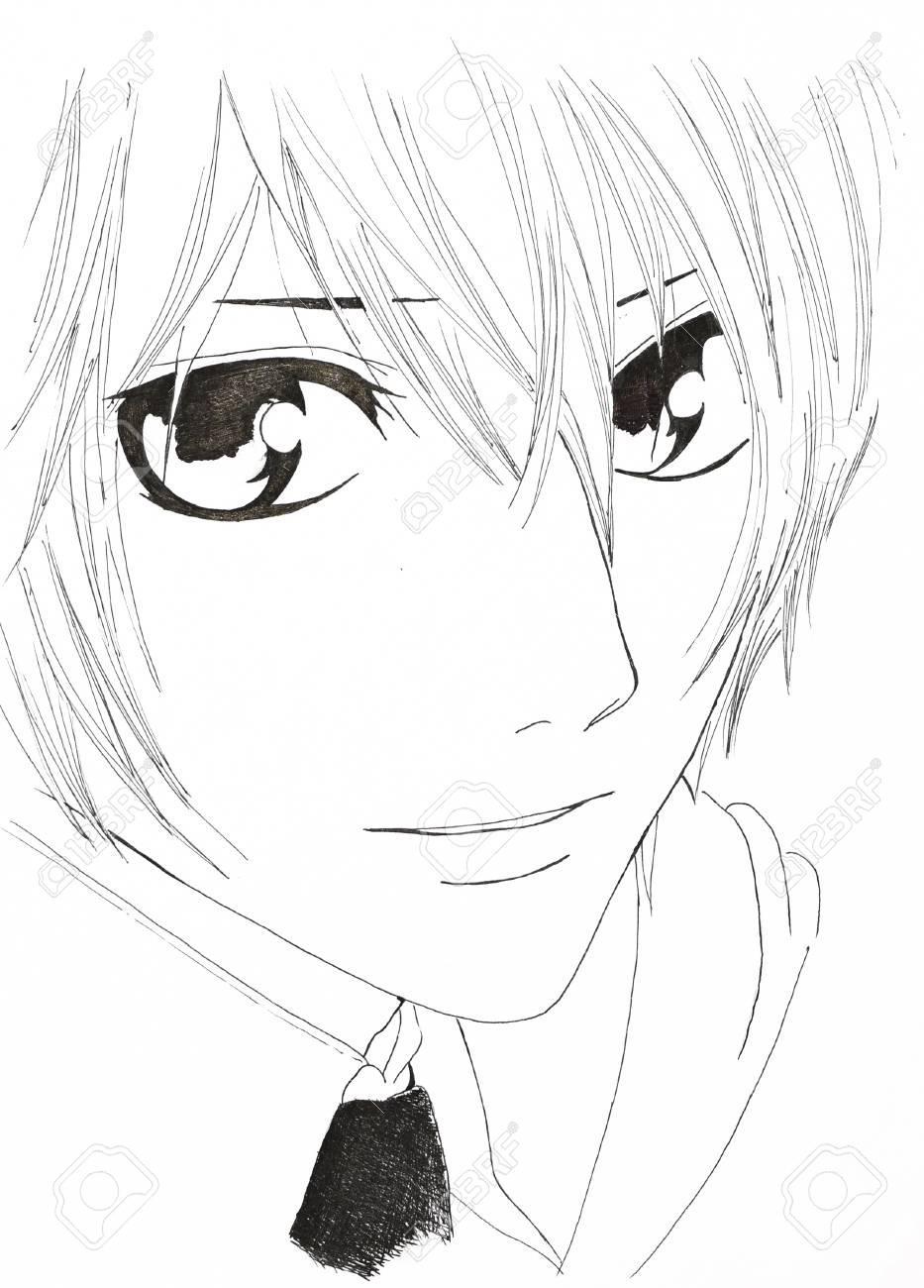 Dibujo En El Estilo De Anime Imagen De Un Hombre En El Cuadro En El