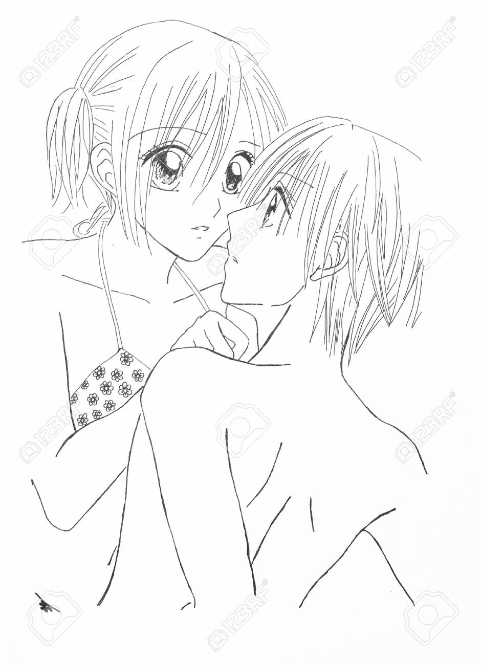 Drawing in the style of anime image enamored girl and the guy in the picture