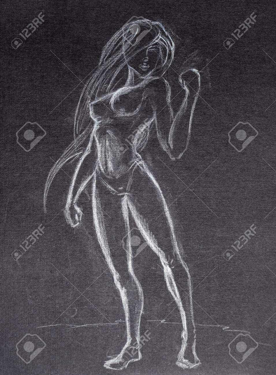 Drawing white pencil on black paper naked girl in a bikini with
