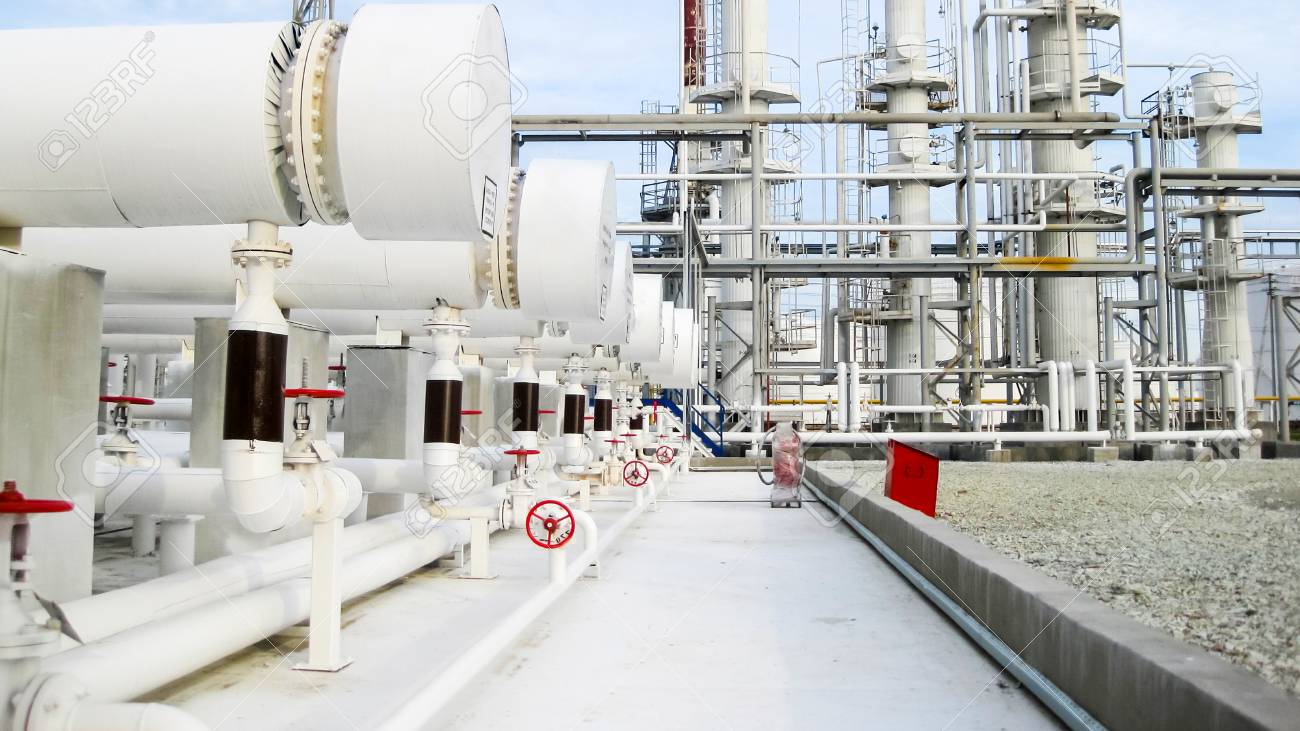Heat exchangers in a refinery. The equipment for oil refining. - 118120244