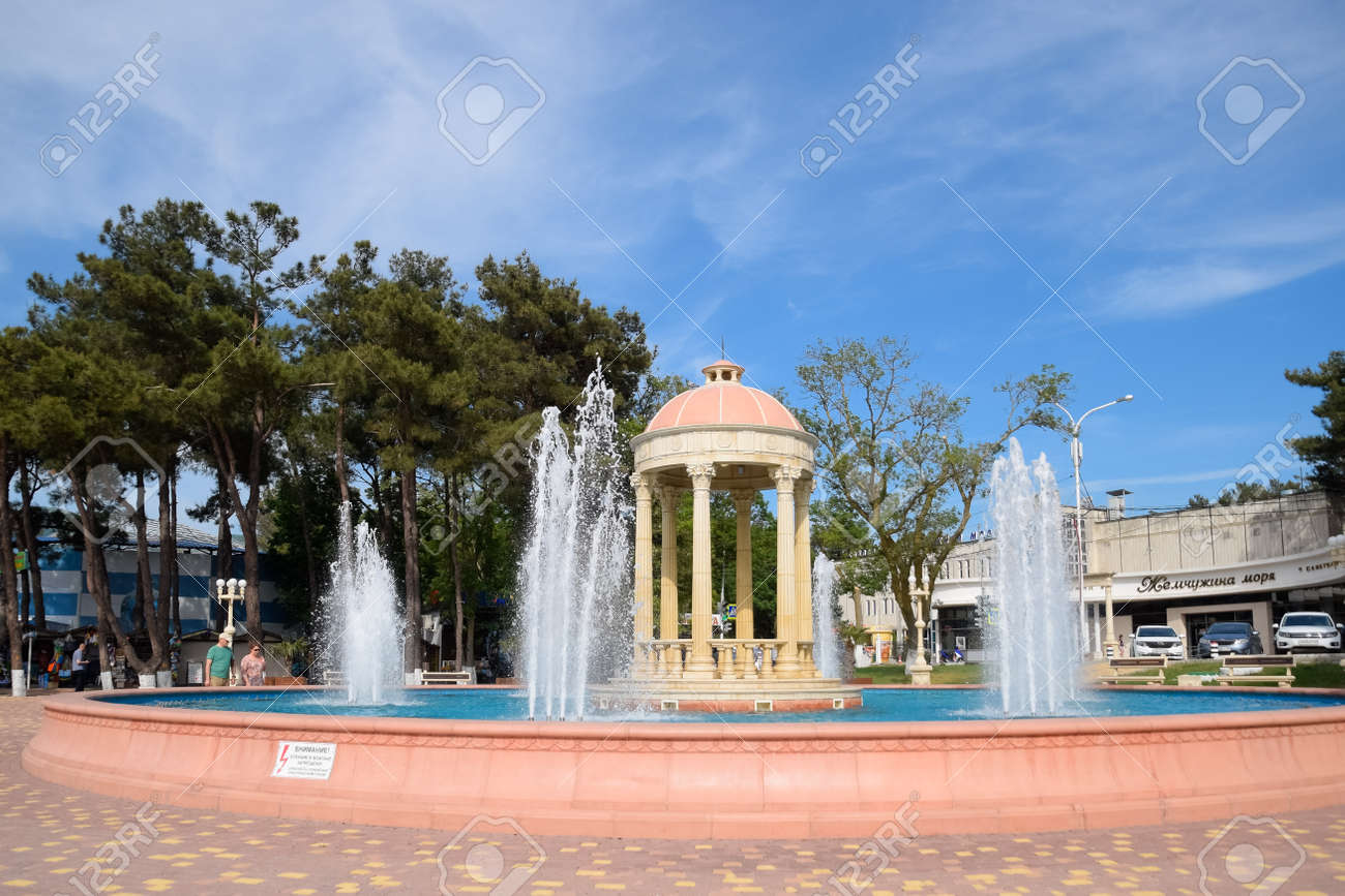 Novorossiysk, Russia - May 20, 2018: Fountain in Kabardinka made in antique style. - 133521964