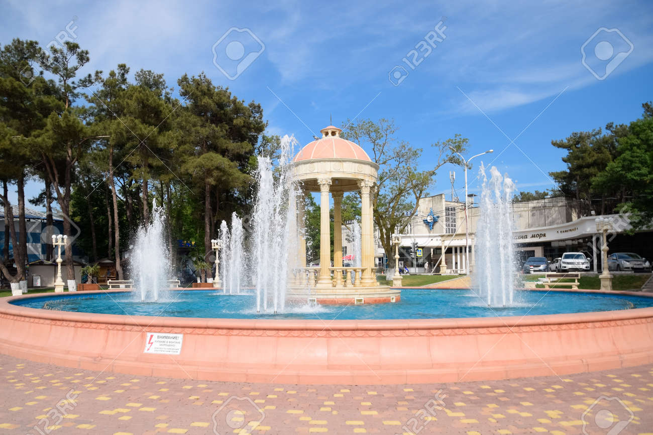 Novorossiysk, Russia - May 20, 2018: Fountain in Kabardinka made in antique style. - 133521969