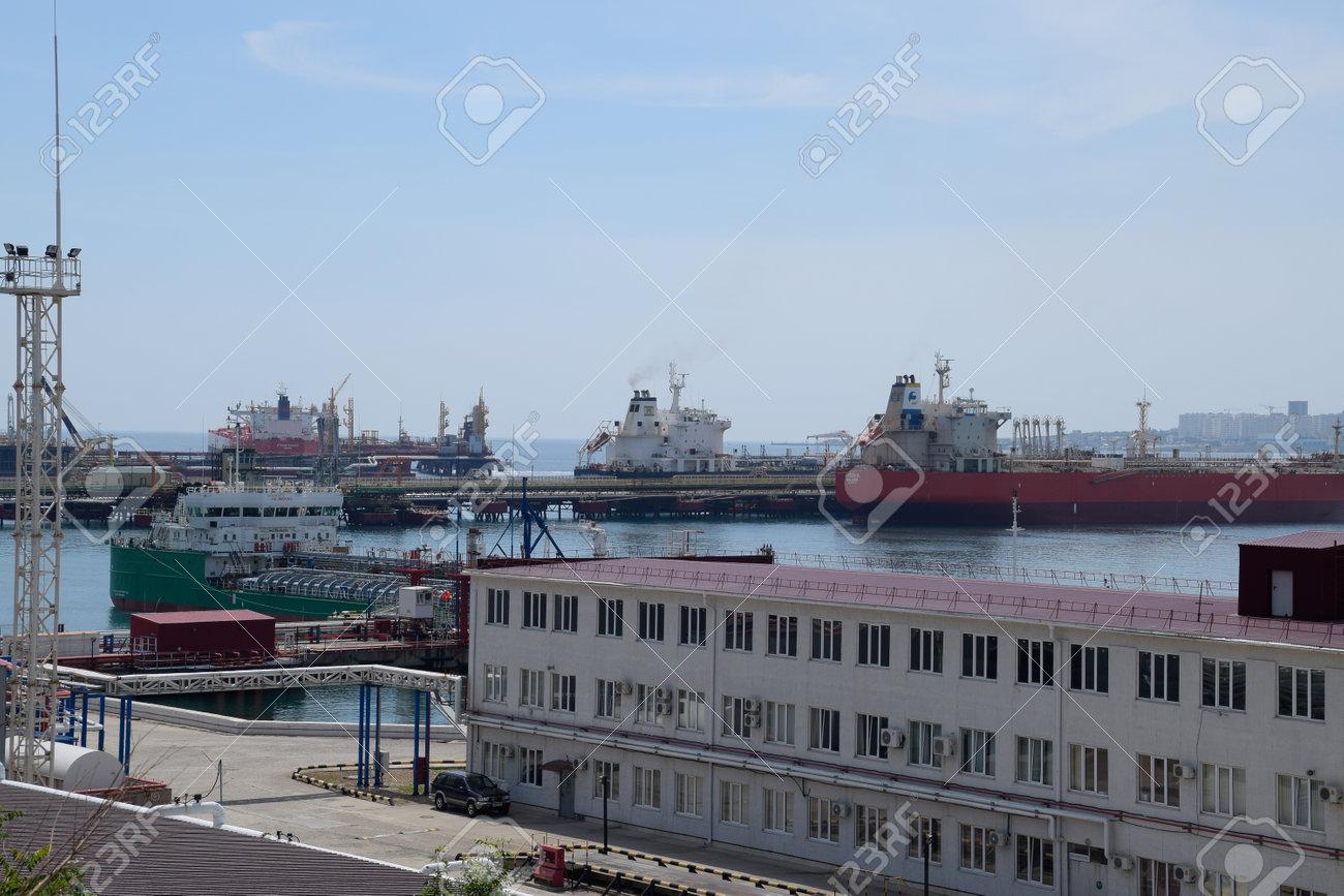 Novorossiysk, Russia - May 20, 2018: Industrial seaport of the city of Novorossiysk, industrial zone. - 133521974