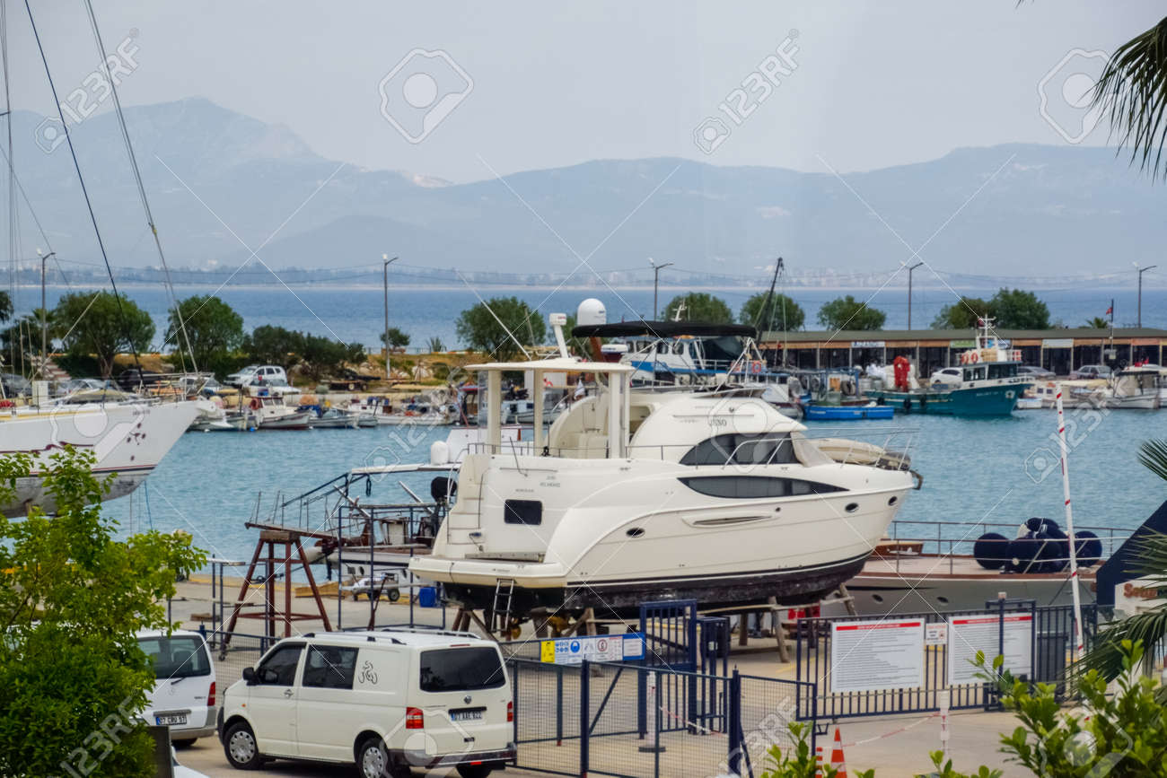 Demre, Turkey - May 21, 2019: bay with parking for yachts and boats. - 133522589
