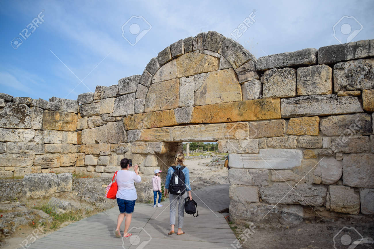 Hierapolis, Turkey - May 22, 2019: The walls of the ancient ruins of limestone blocks. Ruins of the city of Hierapolis, Turkey. - 133523033