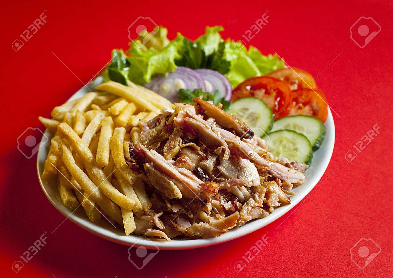 Traditional Turkish Doner Kebab In Bread Served On White Plate Stock Photo Picture And Royalty Free Image Image 37615979