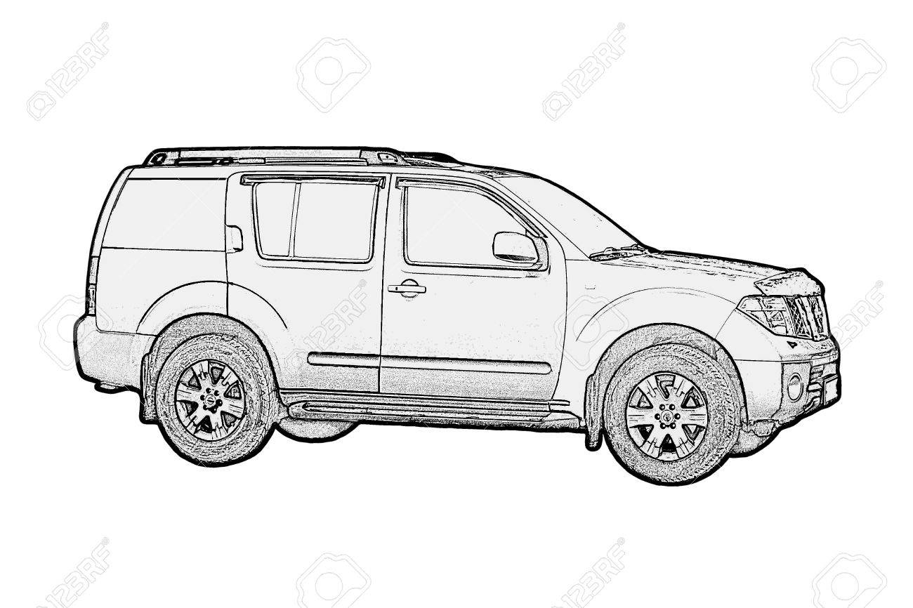 Car Drawing Monochrome On White Stock Photo, Picture And Royalty ...