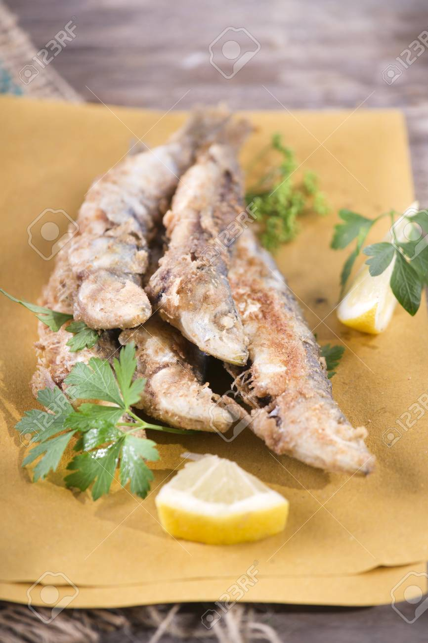 Presentation Of A Seafood Platter Fried Anchovies Stock Photo Picture And Royalty Free Image Image 30080073