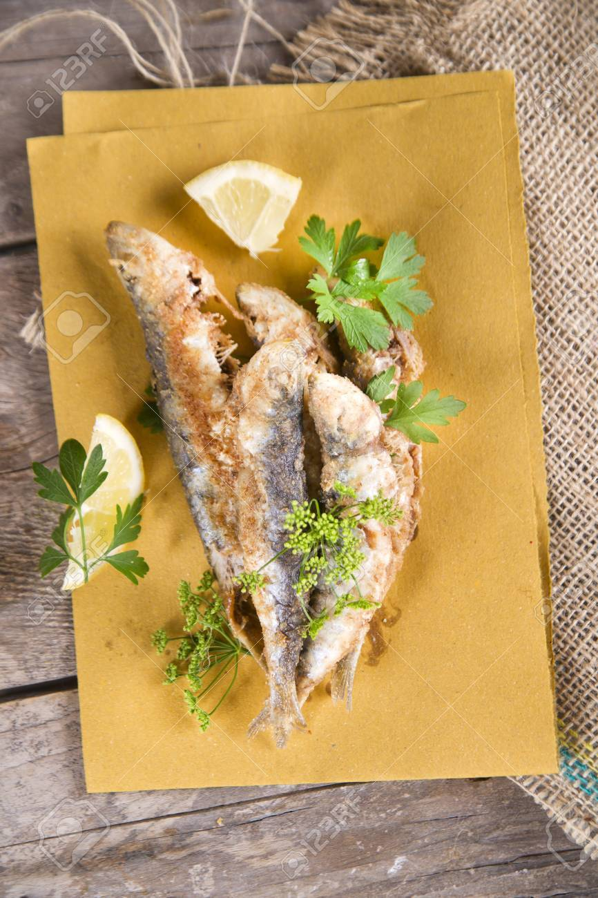 Presentation Of A Seafood Platter Fried Anchovies Stock Photo Picture And Royalty Free Image Image 30080075