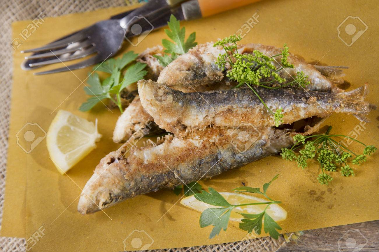 Presentation Of A Seafood Platter Fried Anchovies Stock Photo Picture And Royalty Free Image Image 30080082