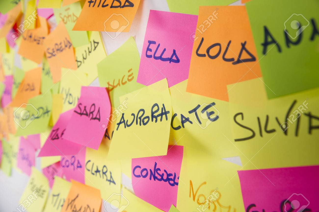 Women S Names Written On Post It In Different Colors Stock Photo