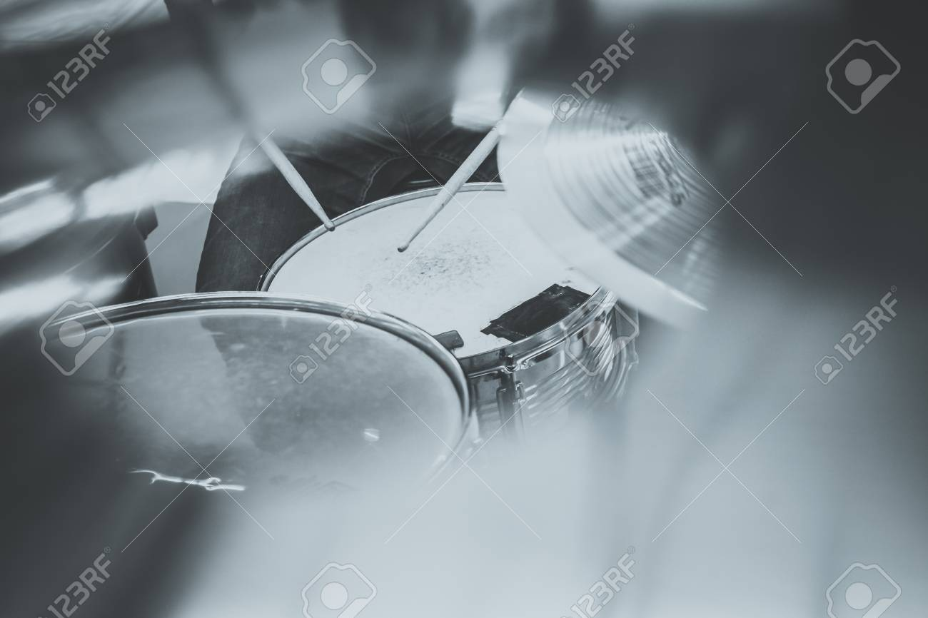 Drummer Playing On Drum Set Top View Live Music Concert Band