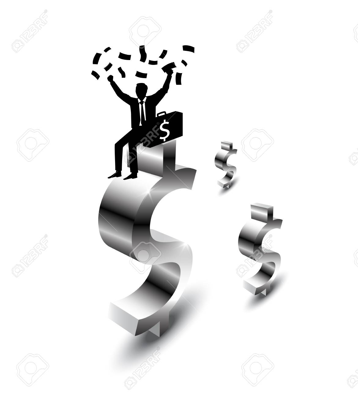 businessman happy with money Stock Vector - 12674521
