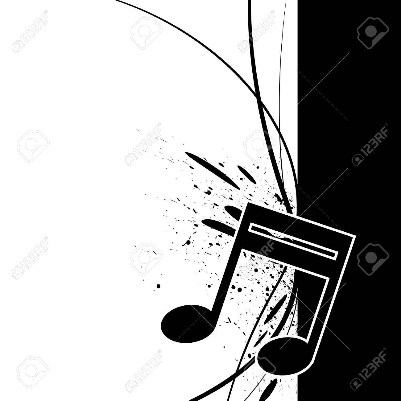 Musical notes staff background on white vector by tassel78 image - Musical Note Music Note With Ink Splatter Illustration