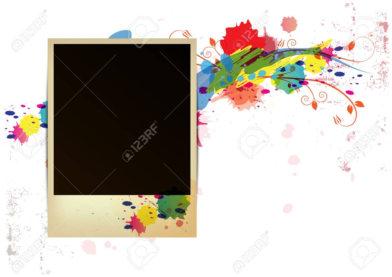 old frame on watercolor paint background Stock Vector - 15352265