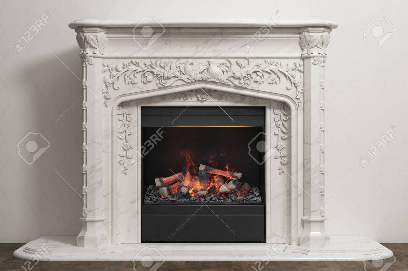 Stone fireplace in home interior - 138651085