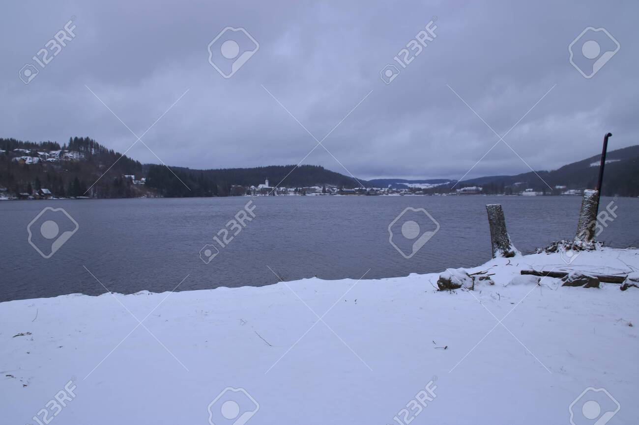 View Of Lake Titisee In The Black Forest In Winter With Cloudy Stock Photo Picture And Royalty Free Image Image 143113350