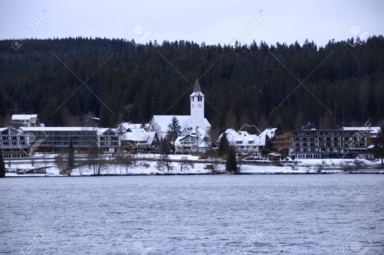 View Of Lake Titisee In The Black Forest In Winter With Cloudy Stock Photo Picture And Royalty Free Image Image 143113367