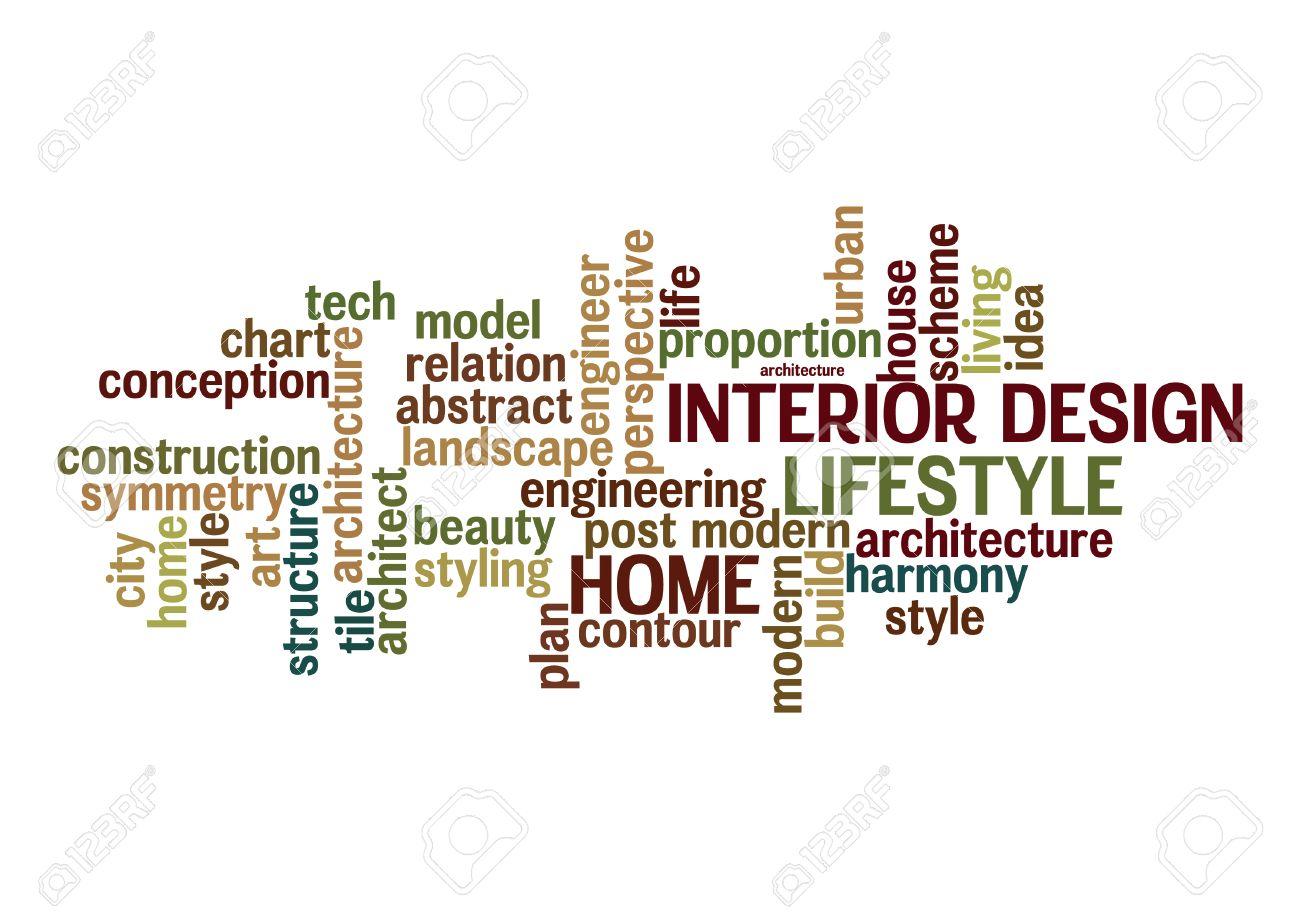 Interior Design And Lifestyle Word Cloud Concept In Vector Stock