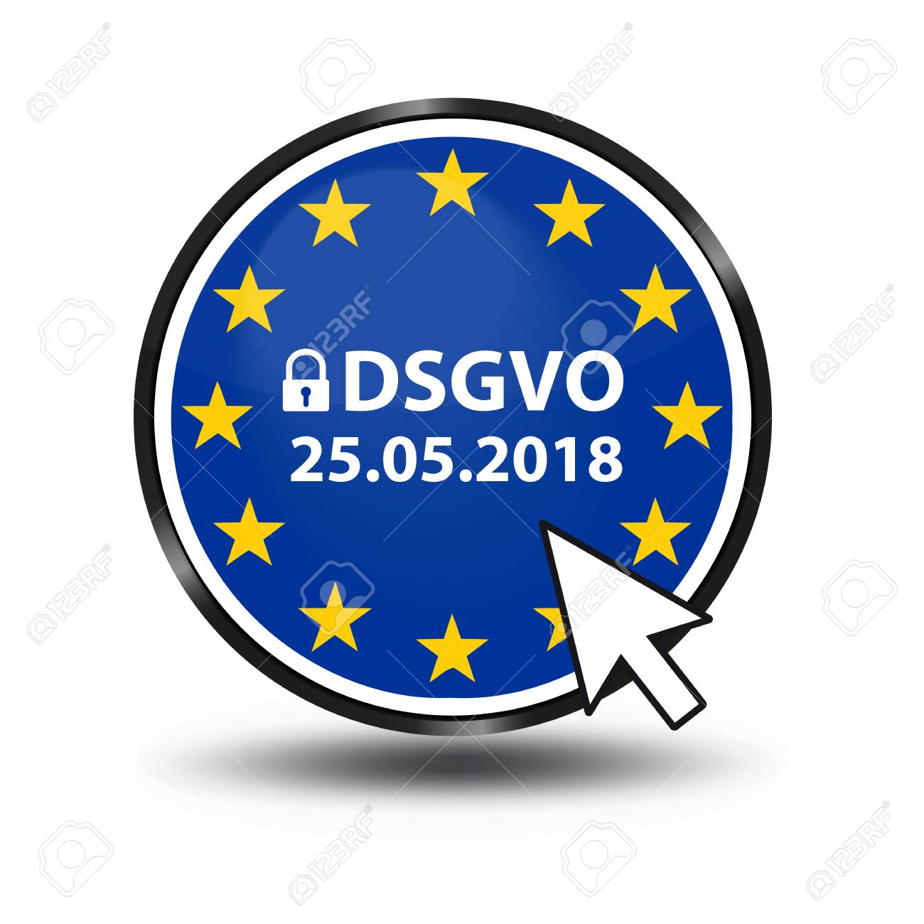 General Data Protection Regulation German Mutation: Datenschutz Grundverordnung (DSGVO) - Web Button With Security Lock And Mouse Arrow - 96279555
