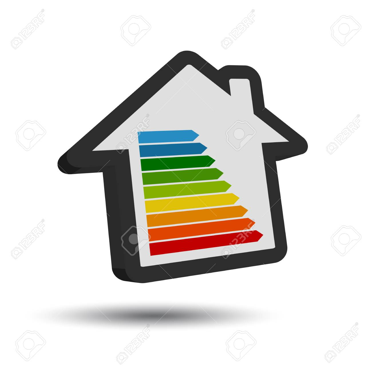Superb New Energy Class Table   3D House Icon With Shadow Stock Vector   96279567