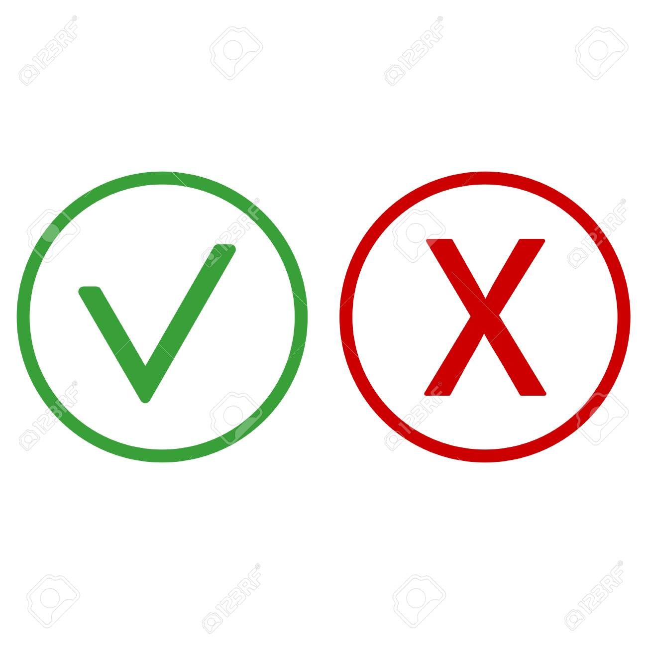 checkmark and x or confirm and deny icon for apps and websites