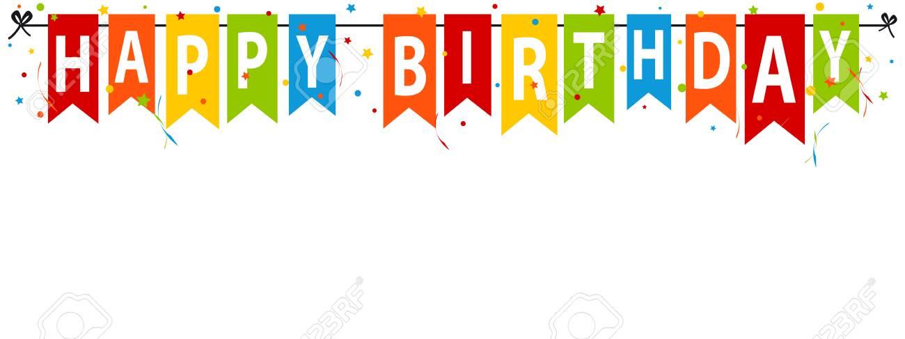 Happy Birthday Banner Editable Vector Illustration Royalty Free