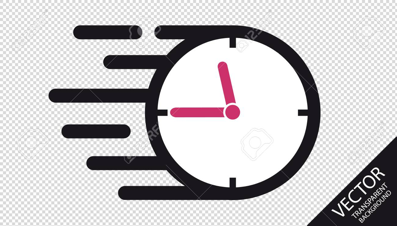 Speed Clock Flat Icon - Vector Illustration - Isolated On Transparent