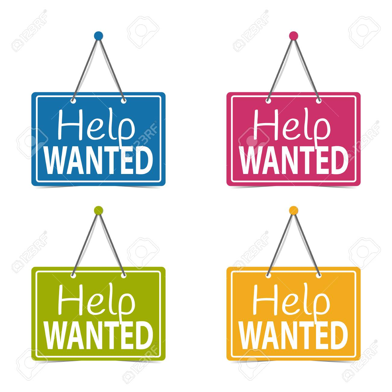 Help Wanted Hanging Business Signs - Vector Illustration - Isolated On White Background - 117626073
